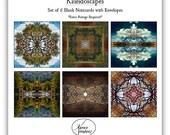 Six 5 x 5 Nature Mandala Kaleidoscope Photographic Art Greeting Note Cards Set Stocking Stuffer