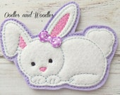 Felt Bunny Slider for Headband,  Bunny Embroidered Slider Applique, Easter Applique, Bunny Applique, Headband Slider, Easter Slider
