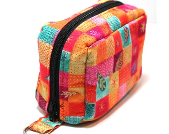 Essential Oil Case Holds 6 Bottles Essential Oil Bag Pink Orange Turquoise Squares and Flowers