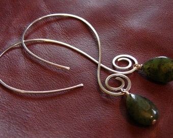Plain Jade - Sterling silver swirly open hoops with jade dangle