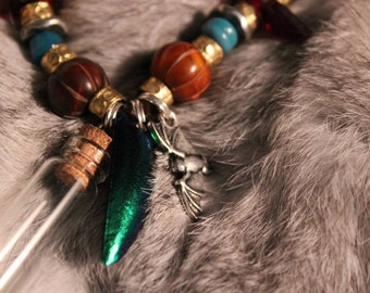 Three Bottle ~ Beetle Wing ~ Bat Charm ~ Horn, Talhakimt Antique Glass, Brass, Vintage Metal Beaded Strength Necklace