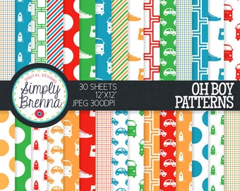 Oh Boy Digital Paper Pack - Patterned Scrapbook Paper Mega Pack - Personal & Commercial Use INSTANT DOWNLOAD