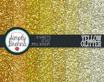 Yellow Glitter Paper Pack Colorful Glitter Digital Paper Personal & Commercial Use INSTANT DOWNLOAD