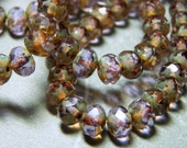 Czech Lavender with Picasso 5x7mm Faceted Fire Polished Glass Rondelle Beads (25) 0843