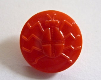 Vintage Czech Opaque Red 18mm Round  Glass Button with Beetle (1)