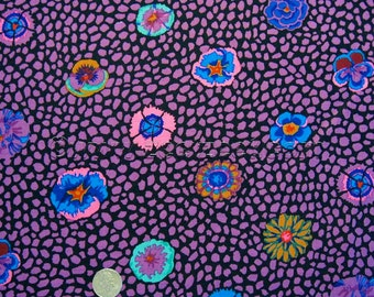 Kaffe Fassett GUINEA FLOWER Purple Violet Black Pansy Flowers GP59 Quilt Fabric - by the Yard, Half Yard, or Fat Quarter FQ