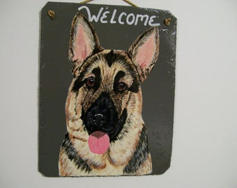 German Shepard (black and tan) Welcome Slate