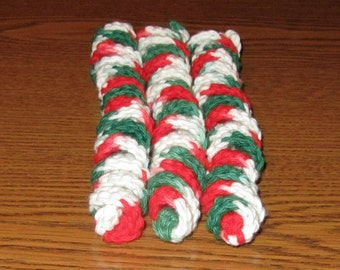 Set of 3 Crocheted Corkscrew Cat Toys: 100% Cotton.  For the BEST Cats on Santa Claw's List!