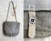 vintage 1940s WWII Era Swiss Army salt & pepper canvas field bag / belt bag