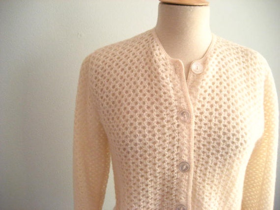 Vintage Cream Cardigan Button Front Sweater- Size M