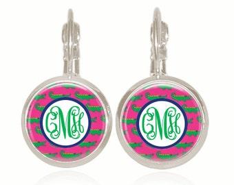 Preppy Monogram Earrings, Glass Earrings, Preppy Gifts, Sorority Gifts, Personalized Gift, Monogrammed Earrings (Pink and Green Alligators)