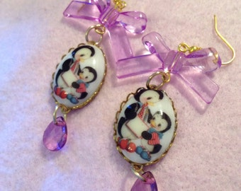 Vintage Cartoon Penguins Cameo Purple Bow Earrings