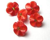RED PLUMERIA Lampwork Glass Button Beads, handmade sra jewelry supplies