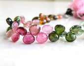 Outstanding Tourmaline Gemstone Briolette Faceted Heart Multi Pink Green Yellow 7 to 7.5mm 20 beads