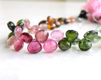 Outstanding Tourmaline Gemstone Briolette Faceted Heart Multi Pink Green Yellow 7.5mm 28 beads