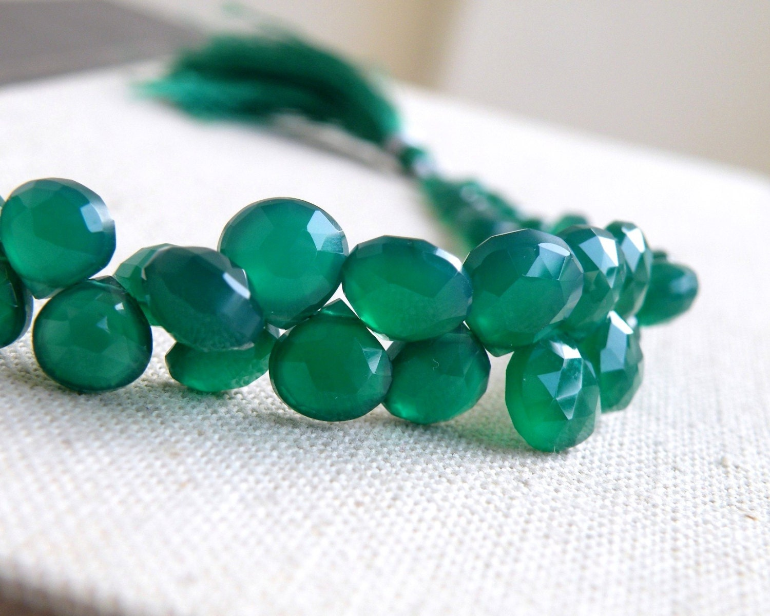 Green Onyx Stone : Green onyx gemstone briolette faceted heart emerald