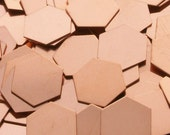 Copper Hexagons - 20 Gauge, stamping blanks, metal blanks, copper specialty shapes, stamping shapes, hexagon blanks