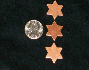 """Copper Stars - Small 6-point - 1"""" x 18 Gauge - Qty 5, specialty blanks, Bopper, stamping supplies, star blank"""