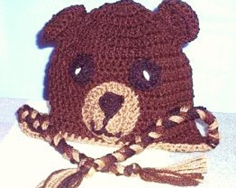 Brown Bear Hat, Crocheted Baby Bear Hat, Crocheted Animal Hat, Toddler Bear Hat, Crocheted Childs Hat, Bear Baby Photo Prop,