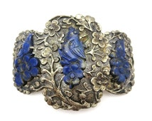 Chinese Lapis Brooch - Vintage 1930s Zee Sung Carved Birds
