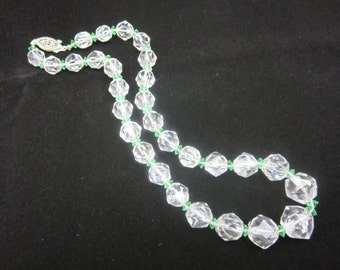 Rock Crystal Beaded Necklace - Faceted Quartz