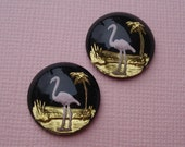 Vintage 18mm Pink Flamingo & Palm Tree Reversed Carved Intaglio Back Smooth Top Gold Pink and Black Cabs ( 2 pieces)
