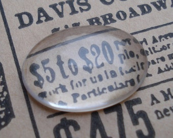 Vintage 18x13mm Clear Oval Magnifying Flat Back Glass Cabochons (6 pieces)
