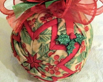 Golden Holly and Berries Unique Handmade Keepsake Quilted Star Christmas Ornament Hostess Gift Teacher Gift