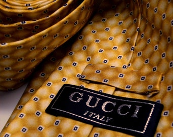"""61"""" Long GUCCI Necktie Buttery Golden Yellow Ombre Silk Tie Small Squares Geometric Foulard  045"""
