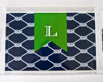 Personalized Lucite Tray 8.5x11 Nautical Knots