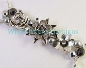 Silver Floral...Silver Flowers, Pearl Nest and Czech Glass Interchangeable Beaded Watch Band, Petite