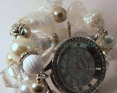 Shabby Chic Pearls & Lace.. Stunning White, Cream and Beige Interchangeable Beaded Watch Band