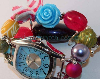 Shabby Chic Brights.. Hot Pink, Light Blue, Mustard Yellow, Dark Purple and Olive Green Interchangeable Beaded Watch Band