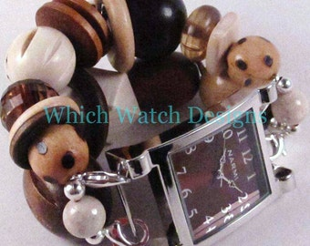 Summer Wood Sepia.. Chunky Cream, Honey, Dark Brown Wood Beaded Watch Band, Interchangeable