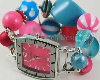 Cotton Candy.. Hot Pink and Turquoise Blue Interchangeable Beaded Watch Band