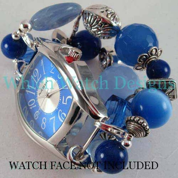 Blue Jumble.. Mixed Blue Stone, Glass and Acrylic Interchangeable Beaded Watch Band