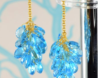 18K Vermeil Swiss Blue Topaz Cluster Earrings