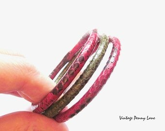 Vintage Snakeskin Bangle Bracelet Lot, Green / Red