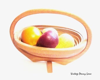 Large Handmade Fruit Basket, Wood / Oval
