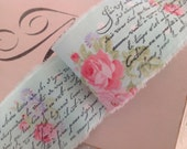 2015 SPRING FRENCH COLLECTION - Pink Roses on  Soft Aqua  -  French Scrippt Sentiment