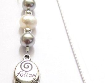 Bookmark Beaded Swarovski Pearl Follow Your Heart Charm, Inspirational Graduation Gift