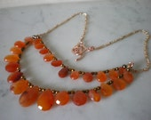 Carnelian and Rose Gold Necklace - - FREE SHIPPING WORLDWIDE