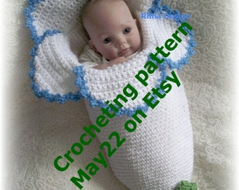 Crochet baby FLOWER cocoon pattern PDF  Instant download Original design Lily Amaryllis Bell baby Permission to sell finished product