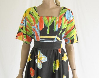 Vintage 70s Butterfly Print Cotton Dress