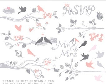 Birds on branches clipart - birds clip art hand drawn flowers Mr Mrs bridal wedding hearts leaves trees spring summer commercial use