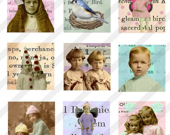 Digital Collage Sheet  1X1 Inch Charms Inchies, Vintage Images (Sheet no.FS18) Instant Download