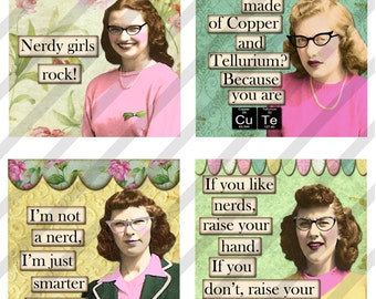 Digital collage sheet  Nerdy Girls 2.5 X 2.5 inches Magnet Images  (Sheet no. FS228) Instant Download