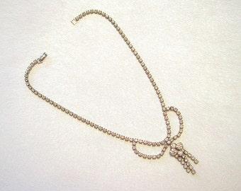 Vintage Bow Necklace Rhinestone Choker Crystal