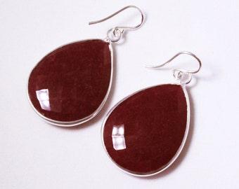 Red Ruby Earring Sterling Silver Bezel Earring Genuine Ruby Earring Precious Ruby Gemstone July Birthstone Real Ruby Jewelry BZ-E-106-Ruby/s