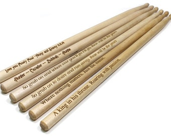 Personalized Drum Sticks,Laser Engraved Drum Sticks,Professional Grade 5a Drumsticks,Wood Tip Drum Sticks